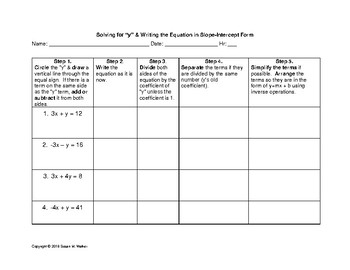 """Solving Equations for """"y"""" Graphic Organizer & Writing in S"""