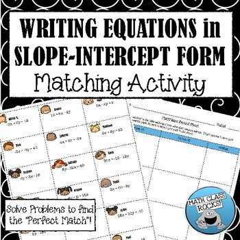 Slope Intercept Form Solving For Y Math Match Cut Paste