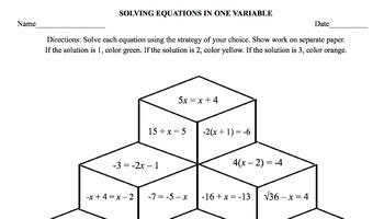 Solving Equations in One Variable Coloring Design