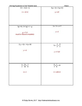 Solving Equations in One Variable, Quiz # 2 with Key