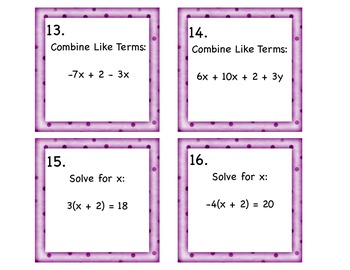 Solving Equations in One Variable Task Cards 8.EE.7a, 8.EE.7b