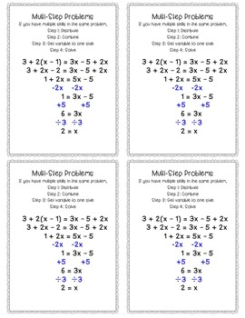 Solving Equations Cheat Sheets/Reference Sheets Sample Problems and Instructions