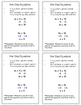 Solving Equations Cheat Sheets/Reference Sheets