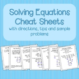 Solving Equations Cheat Sheets/Reference Sheets Sample Pro
