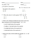 Solving Equations test - 20 multiple choice and 8 extended
