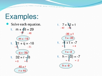 Solving Equations using Addition and Subtraction