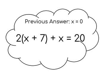 Solving Equations using Distributive Property Scavenger Hunt
