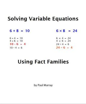 Solving Equations using Fact Families