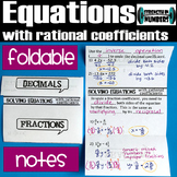 Solving Equations w/ Rational Coefficients Foldable Notes Interactive Notebook