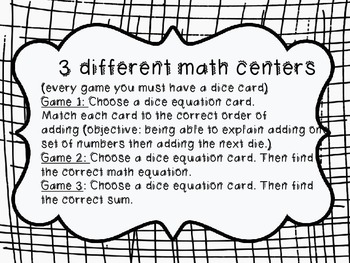 Solving Equations with 3 Numbers Common Core Aligned (dice game)