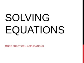 Solving Equations with Applications