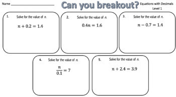 Solving Equations (with Decimals) – Two Breakout Activities!