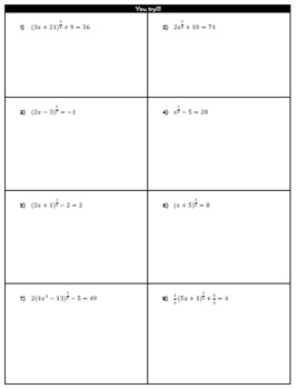 Solving Equations with Fractional Exponents Guided Notes and HW