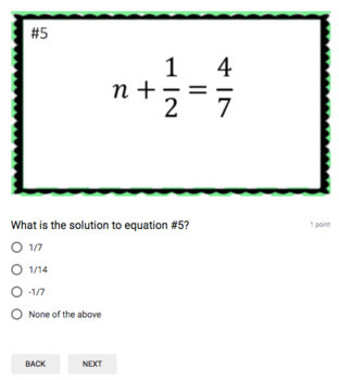Solving Equations with Fractions (Google Form & Interactive Video Lesson!)