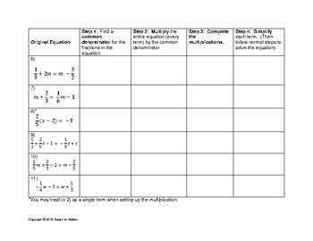 Solving Equations with Fractions Graphic Organizer Worksheet & Blank Template