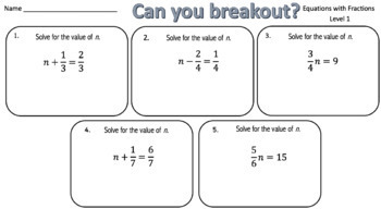 Solving Equations (with Fractions) – Two Breakout Activities!