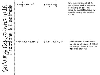Solving Equations with Fractions and Decimals