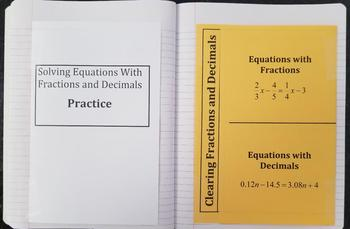 Solving Equations with Fractions and Decimals (Foldables)
