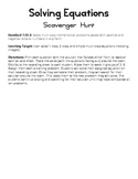 Solving Equations with Integers Scavenger Hunt