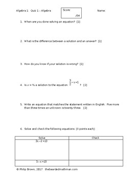 Solving Equations with Inverse Operations Quiz #1 - with Answer key