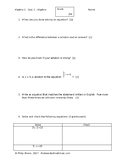 Solving Equations with Inverse Operations Quiz #1 - with A