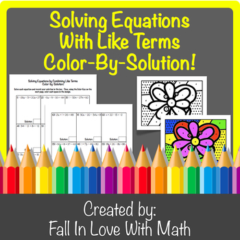 Solving Equations with Like Terms Color-By-Number!
