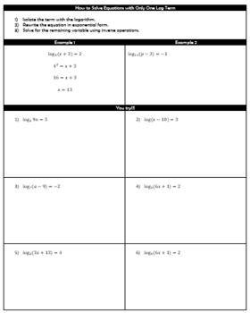 Solving Equations with Logarithms Guided Notes and HW
