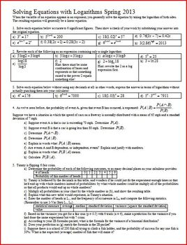 Solving Equations with Logarithms Spring 2013 with answer key (Editable)