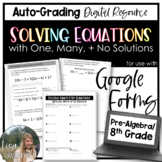 Solving Equations with One, Many, or No Solution- for use with Google Forms