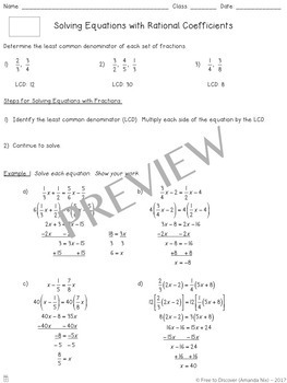 Solving Equations with Rational Coefficients Notes and Practice (Differentiated)