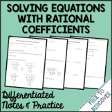 Solving Equations with Rational Coefficients Notes and Pra