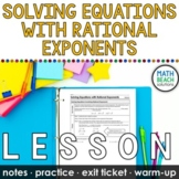 Solving Equations with Rational Exponents Lesson