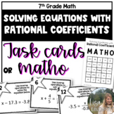 Solving Equations with Rational Numbers (TASK CARDS)