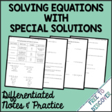 Solving Equations with Special Solutions Notes and Practic
