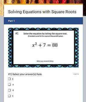 Solving Equations with Square Roots (Google Form & Video Lesson!)