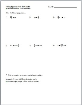Solving Equations with Variable in the Denominator (Guided Notes and Assessment)