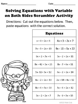 Solving Equations With Variable On Both Sides Scrambler Puzzle Activity