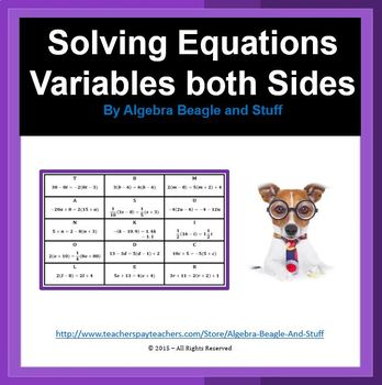 Solving Equations with Variables on Both Sides Word Search
