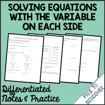 Solving Equations with Variable on Each Side Differentiated Notes and Practice