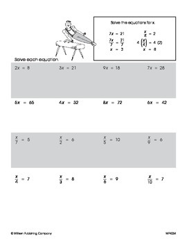 Solving Equations with Variables 2 (CCSS 7.EE.B.4a)