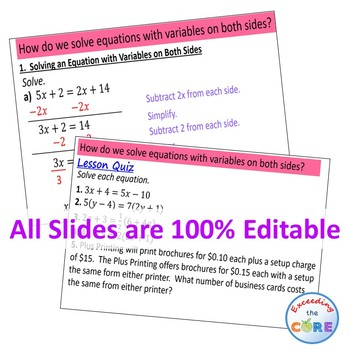 SOLVING EQUATIONS with VARIABLES ON BOTH SIDES PowerPoint Mini-Lesson & Practice