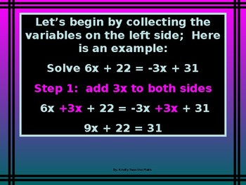 Power-Point:  Solving Equations with Variables on Both Sides