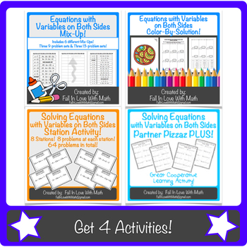 Solving Equations with Variables on Both Sides Activity Bundle!