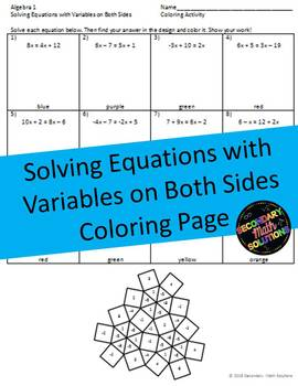 Solving Equations with Variables on Both Sides Coloring Activity (8.8C)