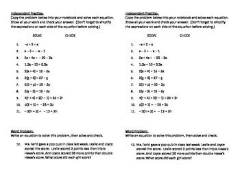Algebra 09 - Solving Equations with Variables on Both Sides (Day 2)