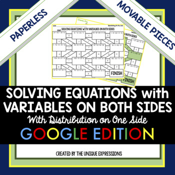 Solving Equations with Variables on Both Sides Digital Maze Activity
