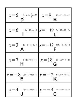 """Solving Equations with Variables on Both Sides """"Follow Me"""" Activity"""