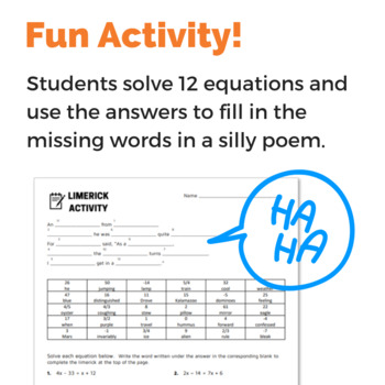 Solving Equations with Variables on Both Sides Fun Activity