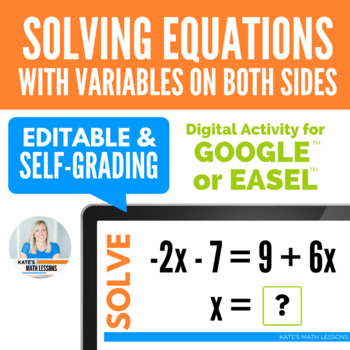 Solving Equations with Variables on Both Sides Activity for Google Drive