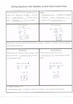 Solving Equations with Variables on Both Sides Guided Notes